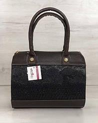 Женская сумка WeLassie Маленький Саквояж коричневого цвета со вставкой коричневая рептилия (32007)