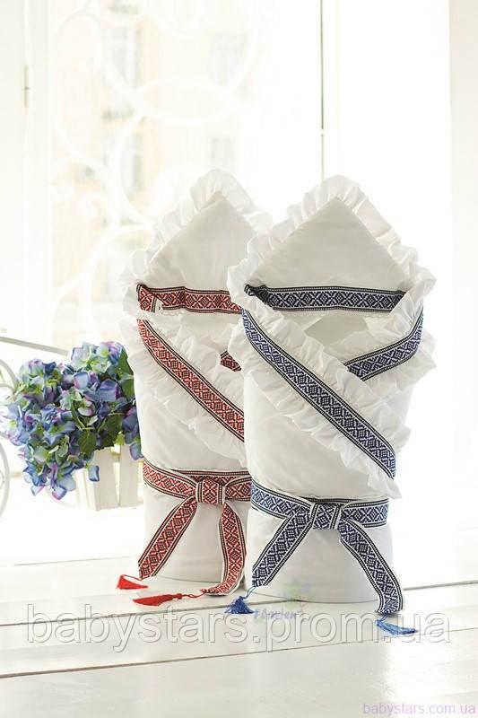 Зимний конверт-одеяло в национальном украинском стиле, Белый с синим