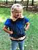 Жилетка з кролика синього кольору 50 см. Для дітей 3-7 років.