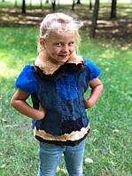 Жилетка з кролика синього кольору 50 см. Для дітей 3-7 років., фото 1