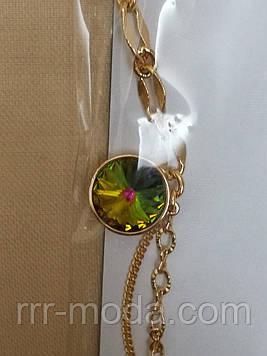 68 Женские браслеты Xuping с подвесками Сваровски. 16 расцветок! Позолоченные украшения. Зеленый хамелеон