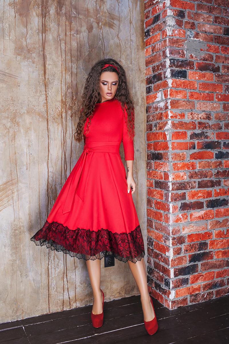 4a044cf29b8ec5 Замшевое платье, с поясом и кружевом. Красное, 3 цвета. Р-ры:42-44,44-46.