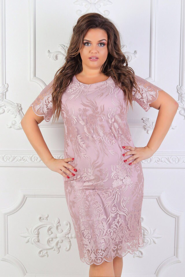 6cbcdbd8606 Шикарное нарядное платье больших размеров до 56-го цвет пудра - Стильная  женская одежда оптом