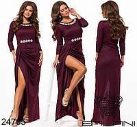 Вечернее элегантное длинное платье в пол с камнями стразами Balani  размер 42-46