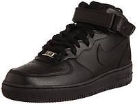 """Кроссовки мужские кожаные Nike Air Force """"Черные"""" высокие р. 41-45, фото 1"""