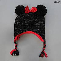 Теплая шапка Minnie для девочки. 50-55 см, фото 1