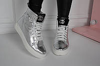 Ботинки зимние серебристые Gucci сбоку змея натуральная кожа код 22111, фото 1