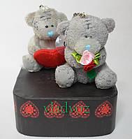 Мягкий Мишка Тедди 2шт + подарочная коробка 2в1 мальенький