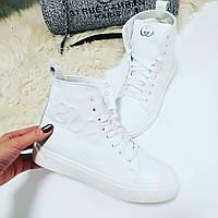 Ботинки зимние белые Gucci сбоку змея натуральная кожа код 22112, фото 1