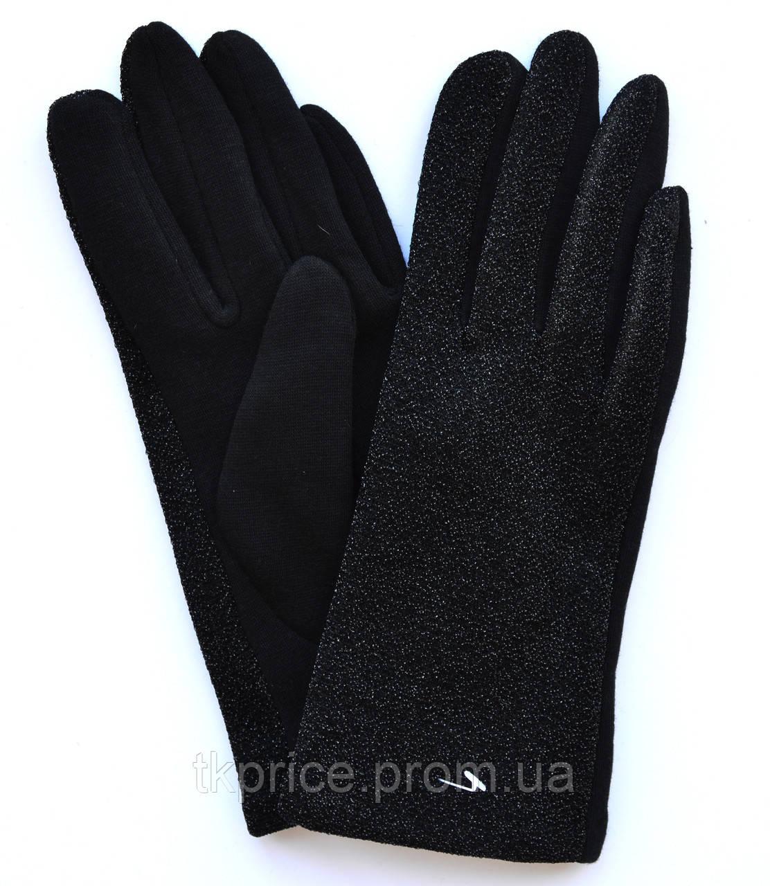 Жіночі трикотажні рукавички з сенсорними пальчиками на флісовой підкладці
