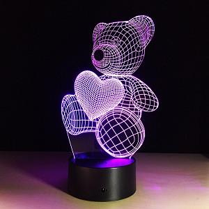 3D Детский светильник, 3D Детский ночник, 3D лампа «Любимый мишка»
