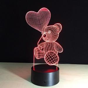 3D Детский ночник, 3D лампа,  3Д Мишка с шариком