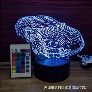 3Д Светильник детский, 3D лампа,   3D ночник спортивный автомобиль