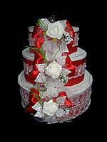 """Тортик для денег """"Розы"""" красный"""