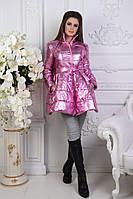 Стильное яркое пальто-колокольчик в расцветках розовый, электрик
