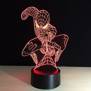Светильник 3D  Человек Паук с пультом управления