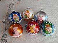 Красивые новогодние шары со свинкой 8см символ года