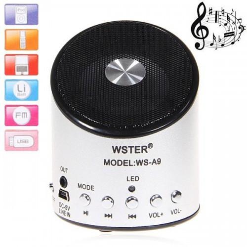 Портативная Bluetooth колонка WSTER WS-A9 MP3 Microphone FM USB аккумуляторная