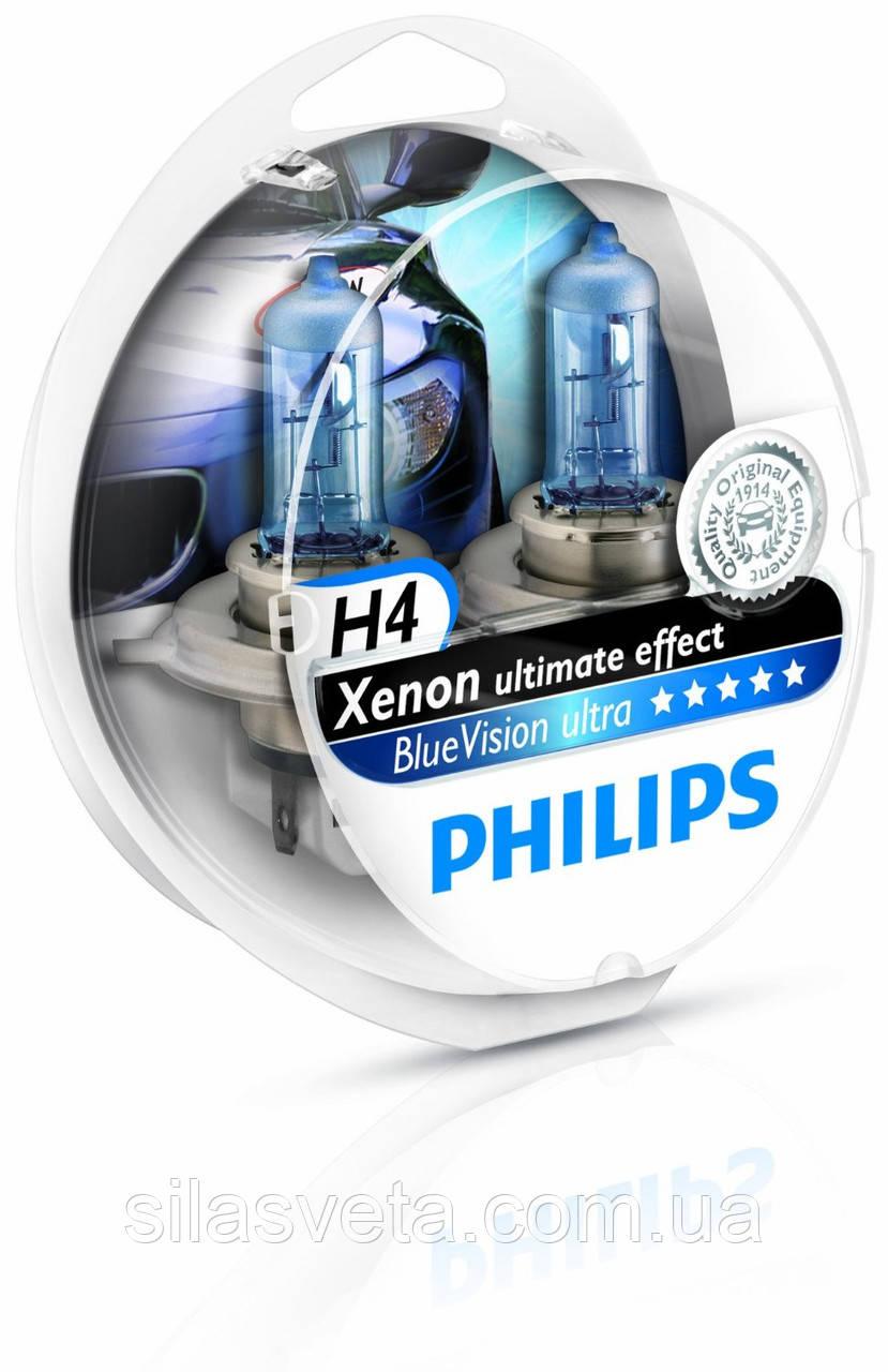 "Автомобильные галогеновые лампы ""PHILIPS""(H4)(Blue Vision Ultra)(4000K) (12V)(60/55W)"
