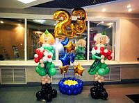 Оформление офиса воздушными шарами к 14 октября