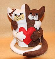 Подарок из фетра Влюблённые Котики 1118, фото 1
