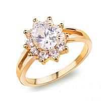 Кольцо, покрытие золотом 18К, белые фианиты, 17 р, фото 1