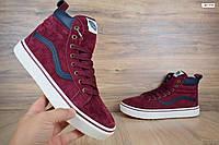 Женские зимние кроссовки в стиле Vans высокие бордовые замша/мех. Код товара: ОД - 3181