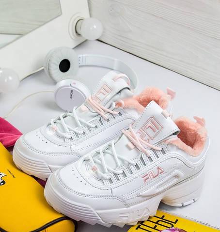 Зимние женские кроссовки Fila Disruptor 2 white pink с мехом. Живое фото  (Реплика ААА+) bb7744f19fce3