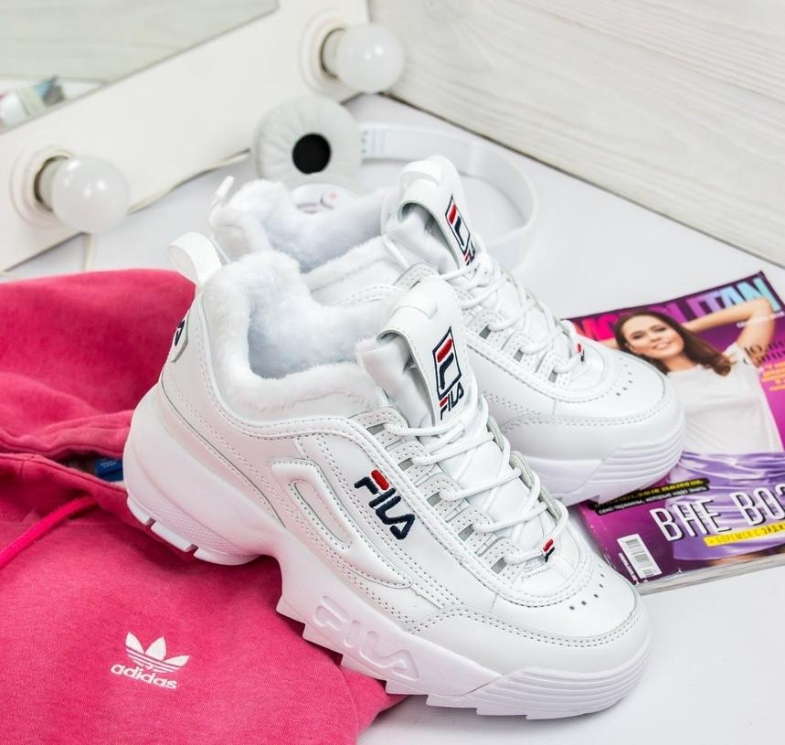 Зимние женские кроссовки Fila Disruptor 2 white белые с мехом. Живое фото  (Реплика ААА+) eb70bec2504b9