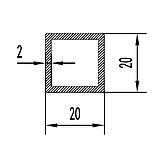 Алюмінієва труба квадратна 20х20мм товщиною стінки 2мм анодована, фото 2