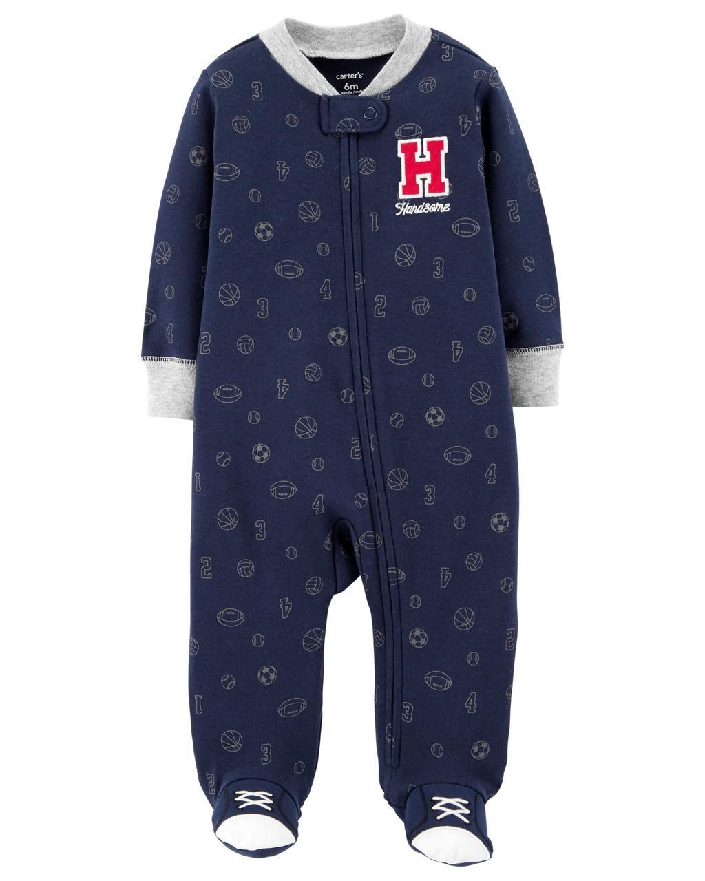 Человечки-слипы Картерс хлопковые для новорожденных мальчиков 3-6-9 мес. Спорт&HANDSOME Carters (США)