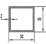 Алюмінієва труба квадратна 30х30мм товщиною стінки 2мм анодована, фото 2