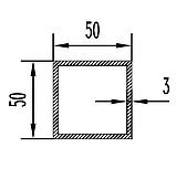 Алюмінієва труба квадратна 50х50мм товщиною стінки 3мм анодована, фото 2