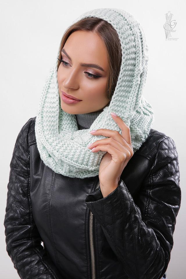 Цвет мята Вязаного шарфа Снуд Елка