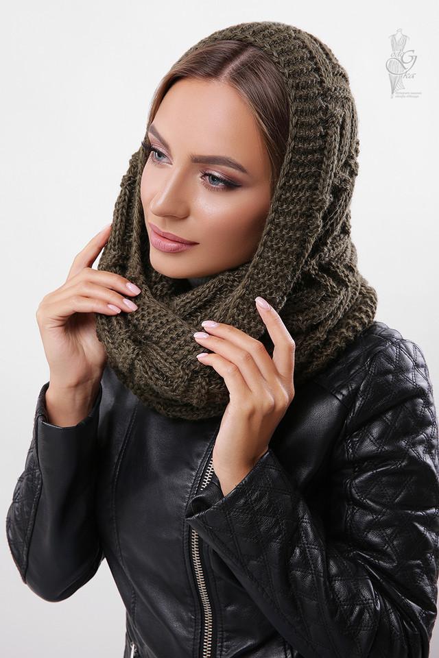 Цвет хаки Вязаного шарфа Снуд Елка