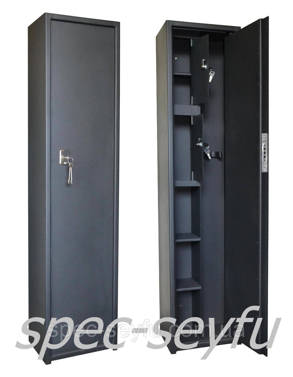 Сейф оружейный с усилим двери для двух ружей с двумя кассами СО 140/2Т2