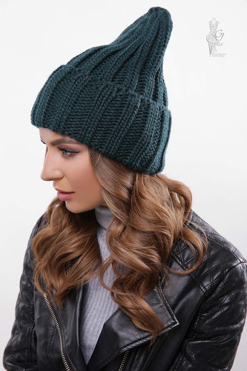Вязаные женские шапки Рики нить шерсть-акрил