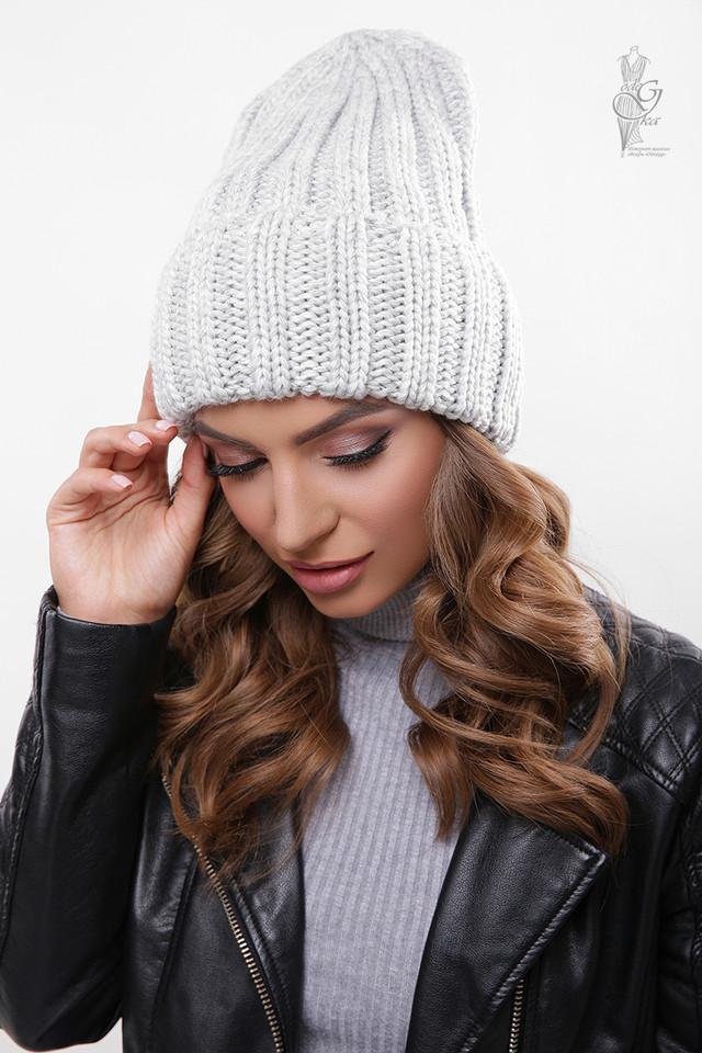 Цвет серый Вязаных женских шапок Рики