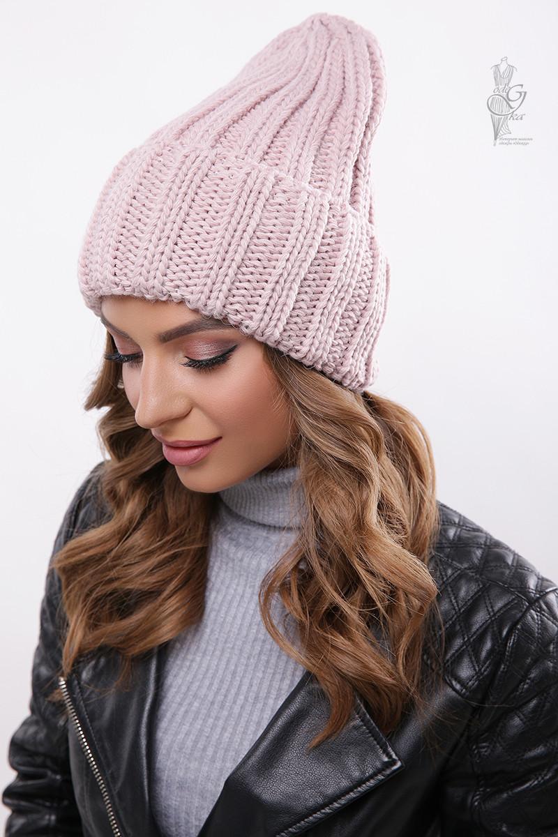Вязаные женские шапки Рики-4 нить шерсть-акрил