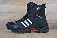 Мужские кроссовки Adidas Climaproof высокие черные с белыми полосами топ реплика