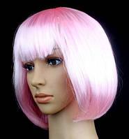 Парик каре бело-розовый 35 см.