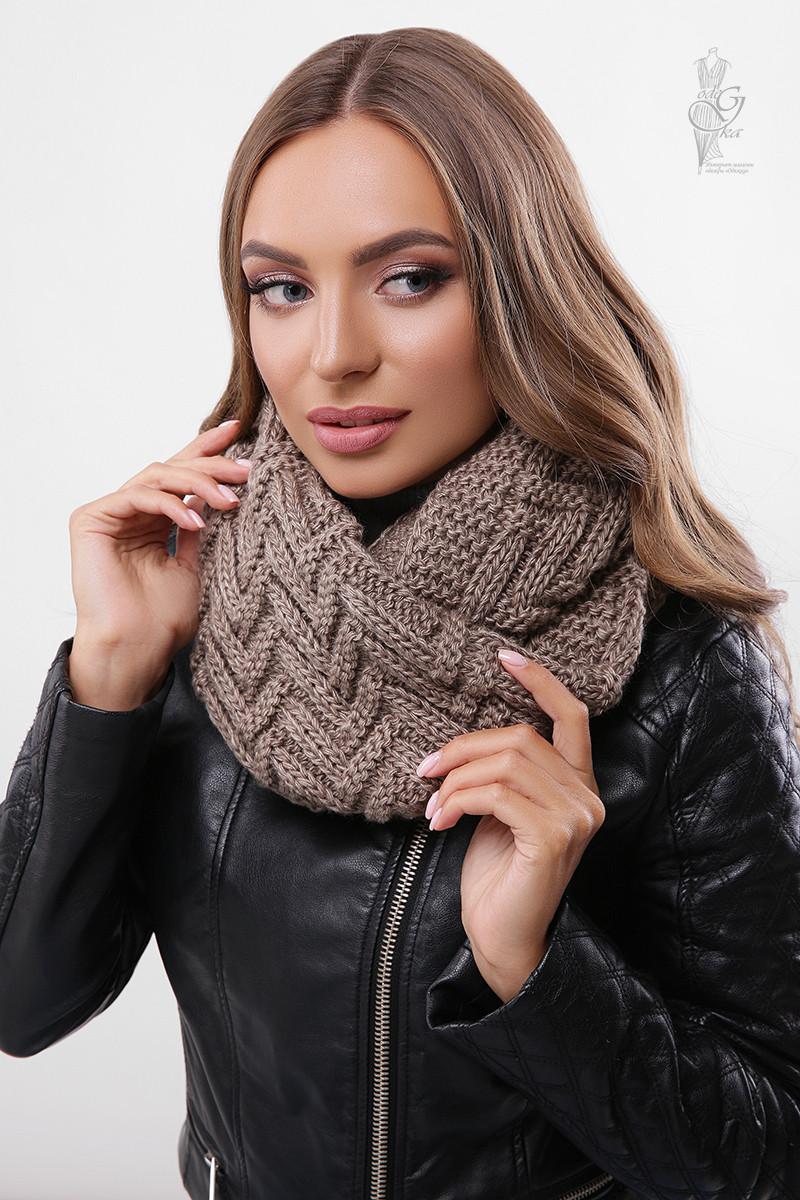 Вязаный шарф Снуд Елка-5 из смесовой пряжи шерсть-акрил