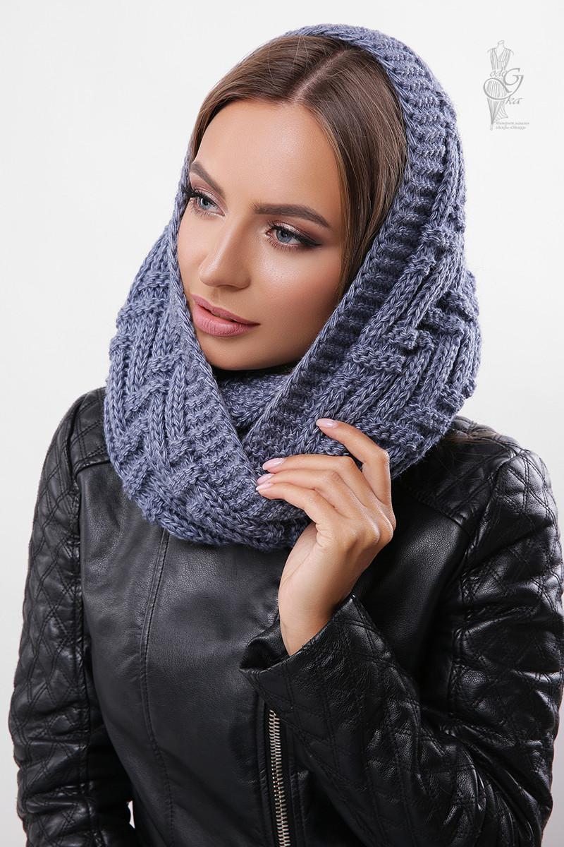 Вязаный шарф Снуд Елка-6 из смесовой пряжи шерсть-акрил