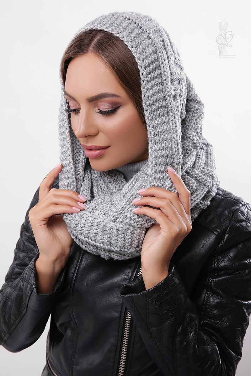 Вязаный шарф Снуд Елка-7 из смесовой пряжи шерсть-акрил