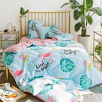 Хлопковое постельное белье Good Night  с фламинго (двуспальный-евро)