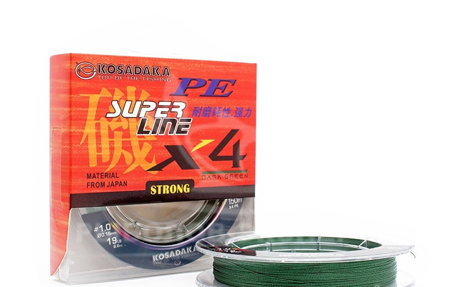Шнур Kosadaka PE Super Line X4 150m 0.12mm 4.70kg Dark Green