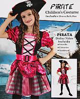 Костюм детский карнавальный ДЕВОЧКА-ПИРАТ, рост 110-120 см, черный с розовым (091013B)