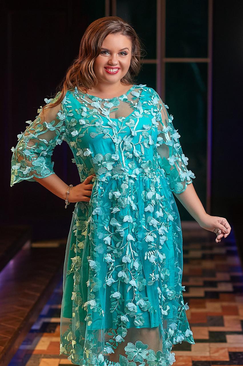 Коктейльное платье цвета Тифани 03880