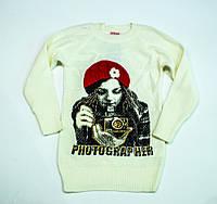 Оригінальний в'язаний светр для дівчинки 8-9 років, фото 1