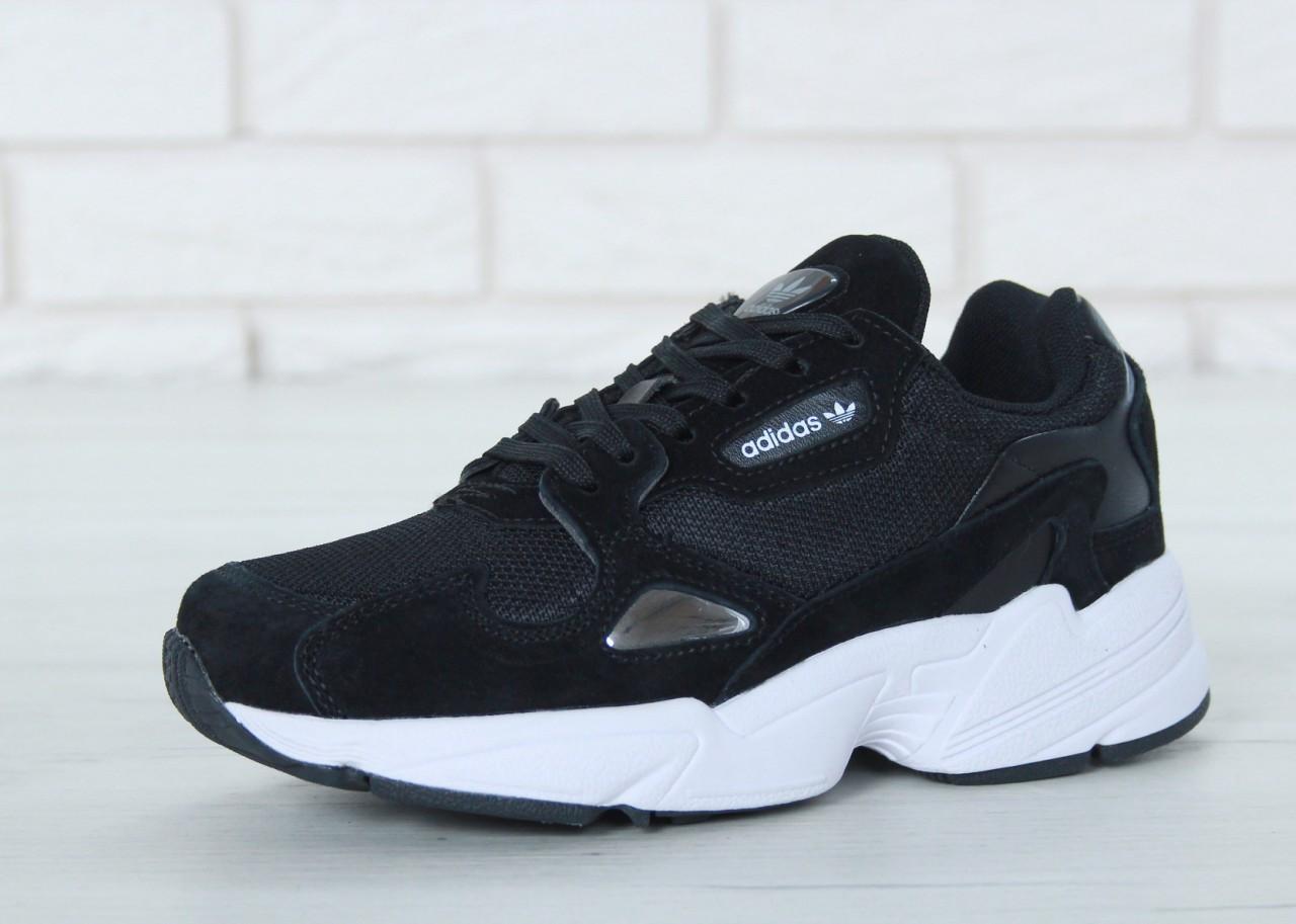46279158c Женские кроссовки Adidas Falcon черные топ реплика - Интернет-магазин обуви  и одежды KedON в